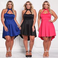 Sexy Women Evening Cocktail Halter Midi Dress High Waist Irregular Skirt Hollow