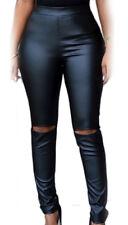 Femme leggings avec coupes alle genou imitation cuir noir extensible