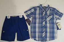 lucky brand toddler boys 2 piece set original $ 48 blue elastic waist Lucky logo
