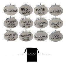White oval mens wedding cufflinks cuff link Groom best man usher page gift