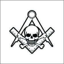 Mason Freemason Skull Vinyl Decal / Sticker 2(TWO) Pack