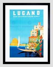 VINTAGE TRAVEL SWITZERLAND BUZZI LUGANO SUISSE NEW FRAMED ART PRINT B12X11934