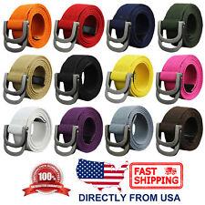 Unisex Canvas Webbed Belt, Double Ring Metal Buckle, For Men or Women