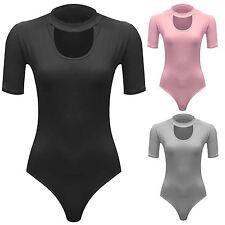 New Ladies Turtle Neck Short Sleeve Soft Stretch Slinky Bodysuit 8-14