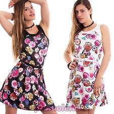 Vestito donna abito miniabito fiori svasato senza maniche nuovo CC-1387