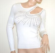 MAGLIETTA BIANCA donna manica lunga maglia sottogiacca strass maglione pull A5