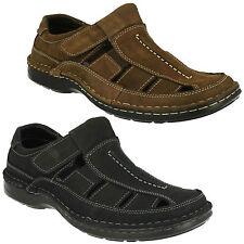 Padders Breaker Mens Leather Sandals Dark Brown and Black