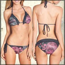 Affliction AC Free Bird Heart Moto Rhinestones Womens String Bikini Bottom Black
