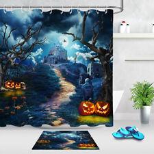 Halloween Night Pumpkin Lantern Castle Dead Tree Shower Curtain Set Bathroom Mat