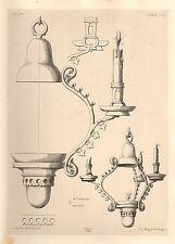 1858 grande architecture print ~ lubeck cathédrale laiton lampe gothique médiéval