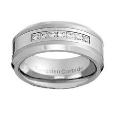 8mm White Tungsten Cubic Zirconia Jewelry Men's Wedding Band