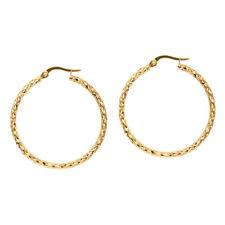 "1 1/4"" Diamond Cut Hoop Earrings Real 14K Yellow Gold"