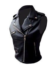 Very Sexy Womens / Ladies Real Black Leather Bikers Style Waistcoat Vest- BRANDO