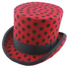 POKER DOT RED BLACK SPOT 100% FELT TOP HATS  FESTIVALS GOTHIC STEAMPUNK  S-2XL