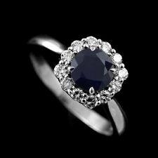 Round Blue Sapphire Diamond Cushion Shape Halo Modern Style Engagement Ring 14k