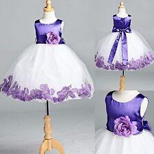 Purple Tulle Rose Petal Dress Flower Girl Birthday Pageant Easter Recital #22