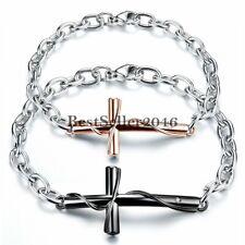 Retro Classic Cross Stainless Steel Men's Women's Couple's Chain Bracelet Gift