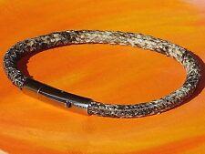 4mm Grey Snakeskin print leather & stainless steel bracelet by Lyme Bay Art..