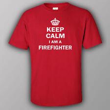 Funny T-shirt KEEP CALM I AM A FIREFIGHTER fire-rescue brigade fireman
