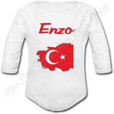 Body Bébé Carte Turquie avec Drapeau avec prénom ou texte personnalisé