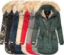 MARIKOO Damen WinterJacke Parka Winter Mantel Outdoorjacke Grinsekatze Warm