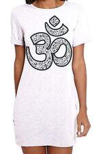 Om Symbol Large Print Women's T-Shirt Dress - Hindu Yoga Meditation Festival