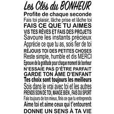 """Sticker Décoration Texte """"Les Clés du Bonheur"""", 50x30cm à 100x60cm (TEX033)"""