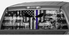 AMERICAN flag punisher blue police line SKULL  Rear Window Decal Pickup Truck