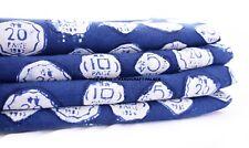 1/2.5 Yard Indian Hand Block Print 100% Cotton Soft Fabric Mud Resist Coin Print