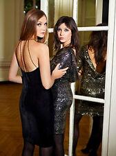 Biba Cóctel Vestido Seda Mezcla Terciopelo Negro £ 145 UK 12/14 (16) con cuentas LBD Diseñador