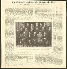 23 GUERET LA FOIRE-EXPOSITION DE 1931 ARTICLE PRESSE JEAN LACOSTE 1932