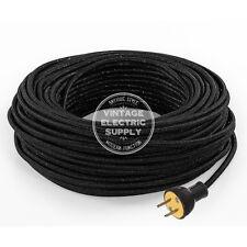 Black Glitter Cordset - Cloth Covered Rewire Set - Antique Lamp & Fan Cord