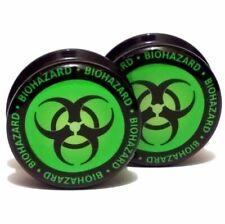 Pair Acrylic Ear Plugs Screw Fit Gauges Flesh Tunnels Earrings - Biohazard Logo