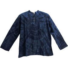 Mens Bohemian Yoga Indian Cotton Navy Blue Tie-Dye Mandarin Collar Tunic Shirt