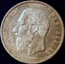1867 High Grade Belgium KM-24 Leopold II 6 Over 6  Overdate Five Francs!  #D0696