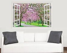 Cherry Blossom Trees Window Scene Wall Art Vinyl Sticker Decal Mural Transfer