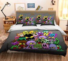 3D Doodle Monster 809 Bed Pillowcases Quilt Duvet Cover Set Single Queen King CA
