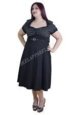 Plus Size Vintage Retro Design Black White Polka Dot Flare Party Dress