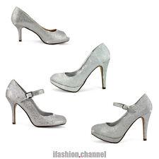 New Fashion Lady Wedding Bridal Evening Party Club High Heel Pump Silver Glitter