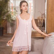 Women Nightgown Lace Princess Fairy Dress Lolita Sleeveless Sleepwear Retro Sexy