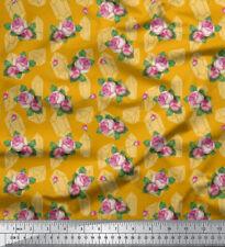 Soimoi Fabric Leaves & Grandiflora Roses Floral Print Sewing Fabric mtr -FL-934G