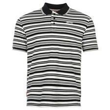 Slazenger Mens  L XL Polo Shirt StrippedT-Shirt Pique White NavyS163-4