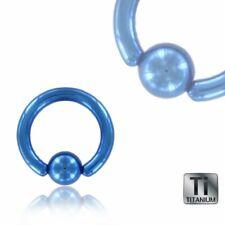 blaues KLEMMRING Piercing Titan ~~ 10 GRÖSSEN ~~ 1,2mm 1,6mm für SEPTUM-, Nasen-