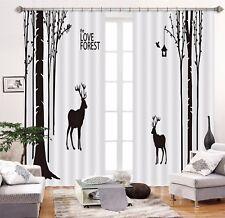 3D Black Tree Deer 55 Blockout Photo Curtain Printing Drape Fabric Window CA
