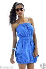 452 SUMMER COTTON STRAPPY POCKETS MINI BLUE CORAL WHITE DRESS/TUNIC SIZE S