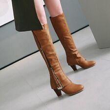 Women's Vintage Knee High Riding Boots Block Heels Side Zip Western Cowboy Boots