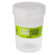 Stackable Round Plastic Food Container w/Screw Top Lids 600ml Kitchen Storage