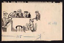 Dessin original de presse du 20eme LE JUGEMENT DES TRUANDS