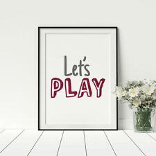 Let's Play Childs Nursery Print Grey Red Playful Artwork Boys Bedroom Décor