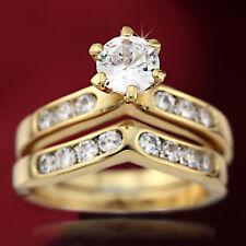 18K GOLD GF WOMENS 2CT SOLITAIRE DIAMONDS INFINITY WAVE BRIDAL WEDDING RINGS SET